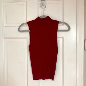 NWT Francesca's Red Ribbed Mock Neck Tank